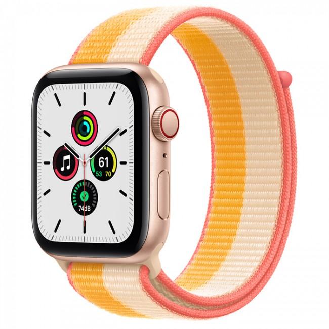 Apple Watch SE GPS+Cellular 40mm aluminium, złoty | żółto biała opaska sportowa - zdjęcie główne