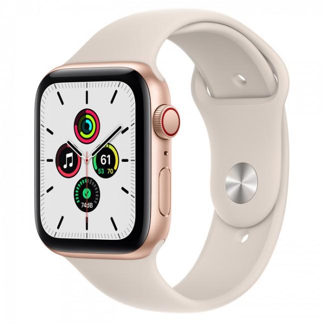 Apple Watch SE GPS+Cellular 44mm aluminium, złoty | księżycowa poświata pasek sportowy - zdjęcie główne