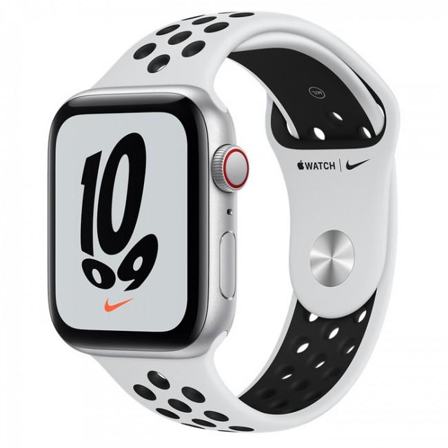 Apple Watch Nike SE GPS+Cellular 44mm aluminium, srebrny | platyna czarny pasek sportowy - zdjęcie główne