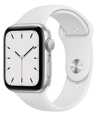 Apple Watch SE GPS 44mm aluminium, srebrny | biały pasek sportowy - zdjęcie główne