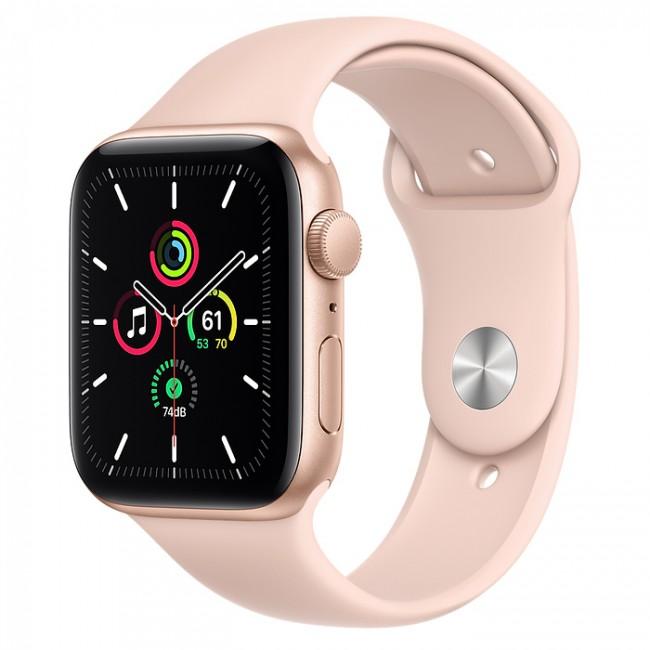 Apple Watch SE GPS 44mm aluminium, złoty | piaskowy róż pasek sportowy - zdjęcie główne