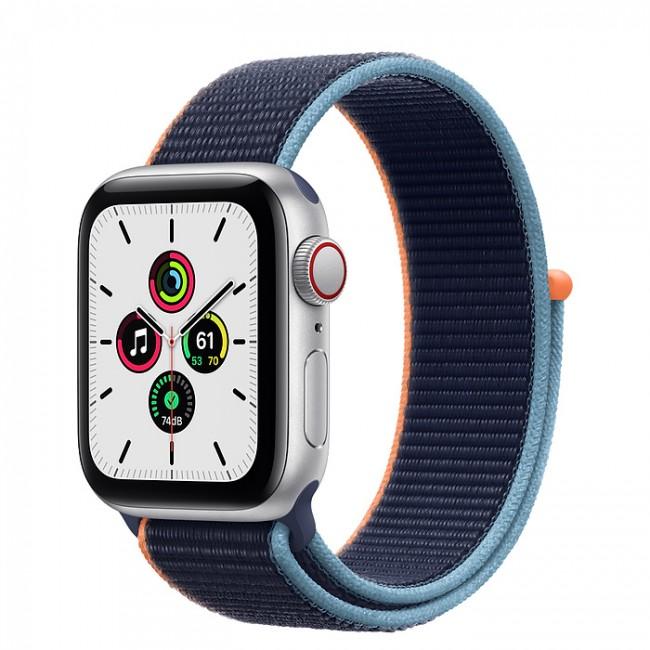 Apple Watch SE GPS+Cellular 40mm aluminium, srebrny | głęboki granat opaska sport - zdjęcie główne