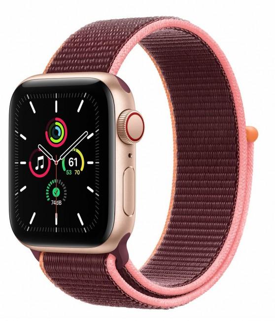 Apple Watch SE GPS+Cellular 40mm aluminium, złoty   śliwka opaska sportowa - zdjęcie główne