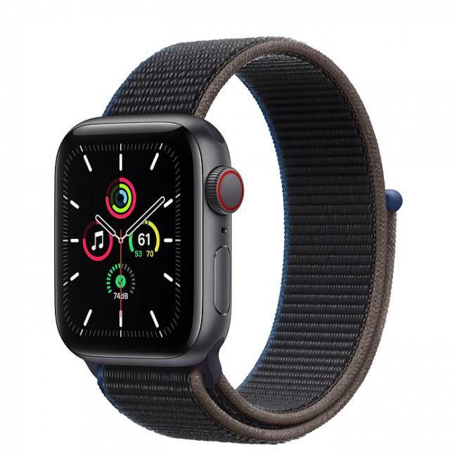 Apple Watch SE GPS+Cellular 40mm aluminium, gwiezdna szarość  węgiel opaska sport - zdjęcie główne