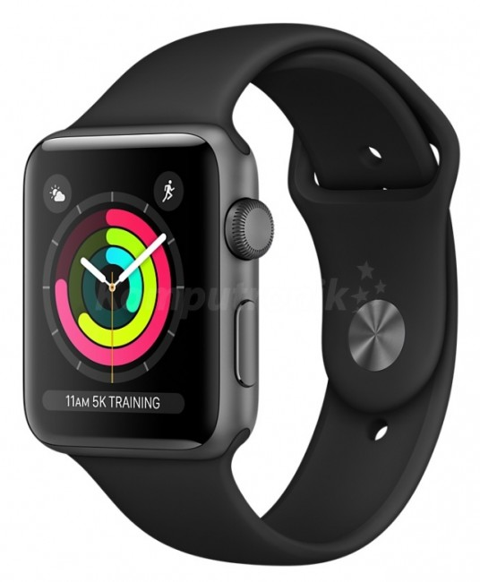 Apple Watch 3 - gwiezdna szarość aluminium 38 | czarny sportowy pasek - zdjęcie główne
