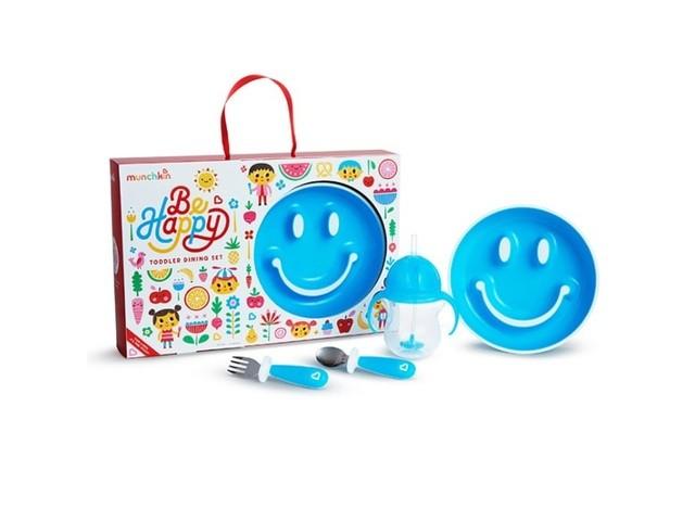 Munchkin Zestaw upominkowy z talerzykiem treningowym Smile, kubkiem z obciążnikiem, sztućcami niebieski - zdjęcie główne