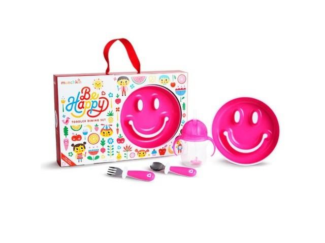 Munchkin Zestaw upominkowy z talerzykiem treningowym Smile, kubkiem z obciążnikiem, sztućcami różowy - zdjęcie główne